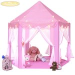 Kids-Play-House-Princess-Tent-Indoor-and-Outdoor-Hexagon-Pink-Castle-Play-tent-for-Girls-with-LED-Light-by-MonoBeach-0-1