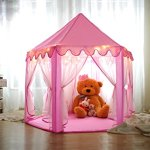 Kids-Play-House-Princess-Tent-Indoor-and-Outdoor-Hexagon-Pink-Castle-Play-tent-for-Girls-with-LED-Light-by-MonoBeach-0-2