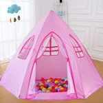 Large-Princess-Tent-for-GirlsHexagon-ShapeFoldable-Pink-Princess-Catle-Tent-for-Indoor-Use-by-LabobbonNot-Included-Light-and-Balls-0-1