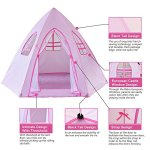 Large-Princess-Tent-for-GirlsHexagon-ShapeFoldable-Pink-Princess-Catle-Tent-for-Indoor-Use-by-LabobbonNot-Included-Light-and-Balls-0-2