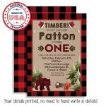 Lumberjack-1st-Birthday-Custom-Personalized-Party-Invitations-Twenty-5-X-7-Cards-Including-20-White-Envelopes-by-AmandaCreation-Perfect-for-first-birthday-parties-0-1