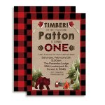 Lumberjack-1st-Birthday-Custom-Personalized-Party-Invitations-Twenty-5-X-7-Cards-Including-20-White-Envelopes-by-AmandaCreation-Perfect-for-first-birthday-parties-0