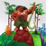 Moana-Tropical-Themed-Birthday-Cake-Topper-Set-Featuring-Moana-Figure-and-Decorative-Accessories-0-0