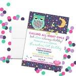 Night-Owl-Sleepover-Slumber-Party-Custom-Personalized-Birthday-Invitations-Twenty-5×7-Cards-with-20-White-Envelopes-by-AmandaCreation-0-0