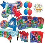 PJ-Masks-4th-Birthday-Party-Supplies-8-Guest-Kit-and-Balloon-Bouquet-Decorations-0
