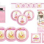 Pink-And-Gold-1st-Birthday-Party-Bundle-Plates-Napkins-Table-Covers-Banner-And-High-Chair-Decorating-Kit-Serves-24-0
