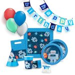 Robot-Party-Supplies-Set-for-12-Birthday-Party-Kit-includes-Cups-Plates-Napkins-Balloons-Hats-Favor-Bags-Candles-and-Banner-0