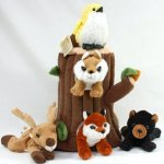 Special-Edition-Plush-Treehouse-with-Animals-Tree-Stump-Five-5-Stuffed-Forest-Animals-Fox-Elk-Bird-Black-Bear-and-Squirrel-0-0