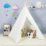Steegic-Outdoor-and-Indoor-Great-Canvas-Indian-Teepee-Playhouse-for-Kids-White-0-1