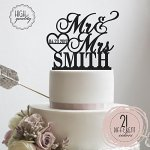 Sugar-Yeti-Brand-Made-in-USA-Cake-Toppers-Custom-Personalized-Mr-Mrs-With-Last-Name-bottom-and-Small-Heart-Wedding-Cake-Toppers-With-Your-Last-Name-Acrylic-Cake-Topper-for-Special-Events-0