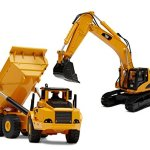 Top-Race-Diecast-Metal-Construction-Trucks-Heavy-Metal-Excavator-and-Dump-Truck-Free-wheeler-Die-Cast-Construction-Toys-Set-of-2-0