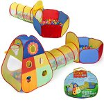 UTEX-Jungle-Gym-Kids-Tents-w-Basketball-Hoop-Tunnels-Ball-Pit-for-Boys-Girls-Babies-and-Toddlers-with-Zipper-Storage-Case-for-Indoor-Outdoor-Use-Iron-Print-0
