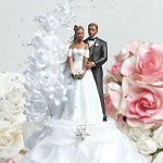 Wedding-Collectibles-Pearl-Side-Arch-Classic-African-American-Cake-Topper-0