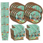 Woodland-Animals-Birthday-Party-Supplies-Set-Plates-Napkins-Cups-Tableware-Kit-for-16-0