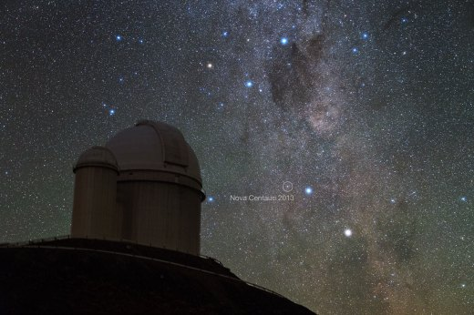 Alpha and Beta Centauri, two of the brightest stars in the southern sky, had a new companion in late 2013 — the naked eye Nova Centauri 2013. This photo was taken by ESO Photo Ambassador Yuri Beletsky at ESO's La Silla Observatory in the Chilean Atacama Desert in the morning hours of Monday 9 December 2013. The nova was discovered by John Seach from Australia on 2 December 2013 as it approached naked eye brightness. Nova Centaurus 2013 is the brightest nova to have occurred so far this millennium. This particular event is known as a classical nova, and is not to be confused with a supernova. Classical novae occur in binary star systems when hydrogen gas from the orbiting stellar partner is accreted onto the surface of the main star, causing a runaway thermonuclear event resulting in the brightening of the main star. In a classical novae the main star is not destroyed as is the case in a supernova. Instead, the star is dramatically brightened, and there is a simultaneous expansion of a debris shell. The nova appears in the picture just to the left of Beta Centauri, the bluer and higher of the two bright stars in the lower-right part of the image. The Southern Cross and the Coal Sack Nebula are also captured near the top of the picture. In front at the left is the ESO 3.6-metre telescope, inaugurated in 1976, it currently operates with the HARPS spectrograph, the most prolific exoplanet hunting machine in the world. Located 600 km north of Santiago, at 2400 m altitude in the outskirts of the Chilean Atacama Desert, La Silla was first ESO site in Chile and the largest observatory of its time. Links  Image of Nova Centauri 2013 (non-annotated)
