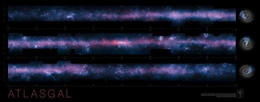 This image of the Milky Way has been released to mark the completion of the APEX Telescope Large Area Survey of the Galaxy (ATLASGAL). The APEX telescope in Chile has mapped the full area of the Galactic Plane visible from the southern hemisphere for the first time at submillimetre wavelengths — between infrared light and radio waves — and in finer detail than recent space-based surveys. The APEX data, at a wavelength of 0.87 millimetres, shows up in red and the background blue image was imaged at shorter infrared wavelengths by the NASA Spitzer Space Telescope as part of the GLIMPSE survey. The fainter extended red structures come from complementary observations made by ESA's Planck satellite. Many of the most prominent objects are named and the parts of the galaxy that are shown in the three slices are indicated at the right.
