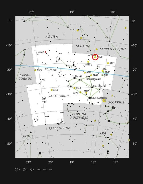 This chart shows the rich constellation of Sagittarius. Among the many star clusters in this part of the Milky Way lies Messier 18, a bright grouping of stars not far from the Omega Nebula (Messier 17). This picture plots most of the the stars visible on a dark clear night with the naked eye.