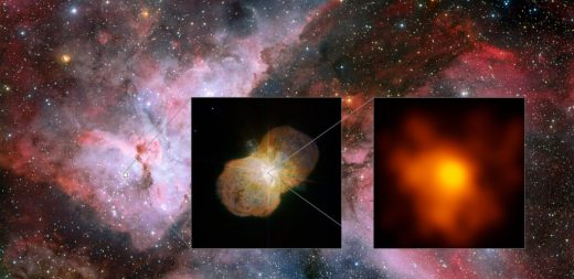 This mosaic shows the Carina Nebula (left part of the image), home of the Eta Carinae star system. This part was observed with the Wide Field Imager on the MPG/ESO 2.2-metre telescope at ESO's La Silla Observatory. The middle part shows the direct surrounding of the star: the Homunculus Nebula, created by the ejected material from the Eta Carinae system. This image was taken with the NACO near-infrared adaptive optics instrument on ESO's Very Large Telescope. The right image shows the innermost part of the system as seen with the Very Large Telescope Interferometer (VLTI). It is the highest resolution image of Eta Carinae ever.