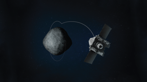 An artist's view of OSIRIS-REx investigating asteroid Bennu