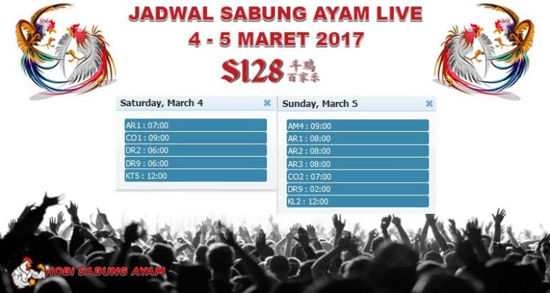 Jadwal Sabung Ayam Live 4 - 5 Maret 2017