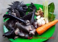 This is the meat of cemani chicken. This black chicken name is cemani chicken or ayam cemani and native to Indonesia.