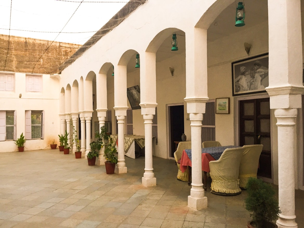 inside view of the courtyard at piramal haveli in rajasthan