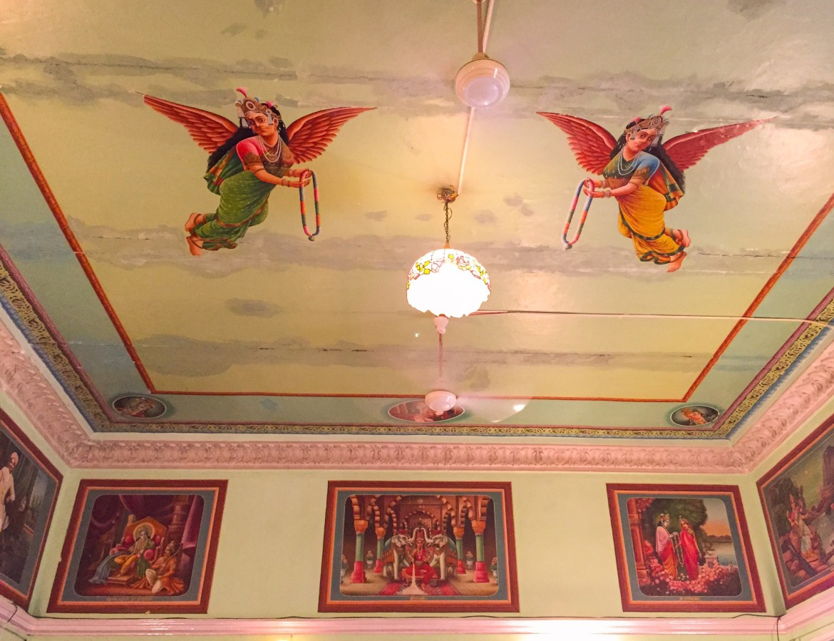 frescoes of indian angels in piramal haveli, one of the most famous havelis in rajashthan
