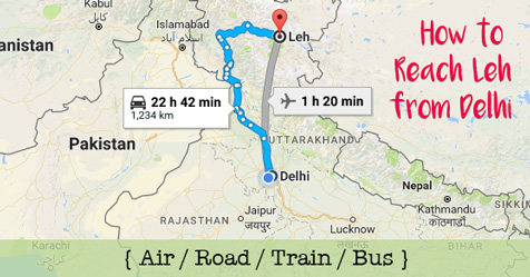 How to reach leh from Delhi by air, road, train or bus