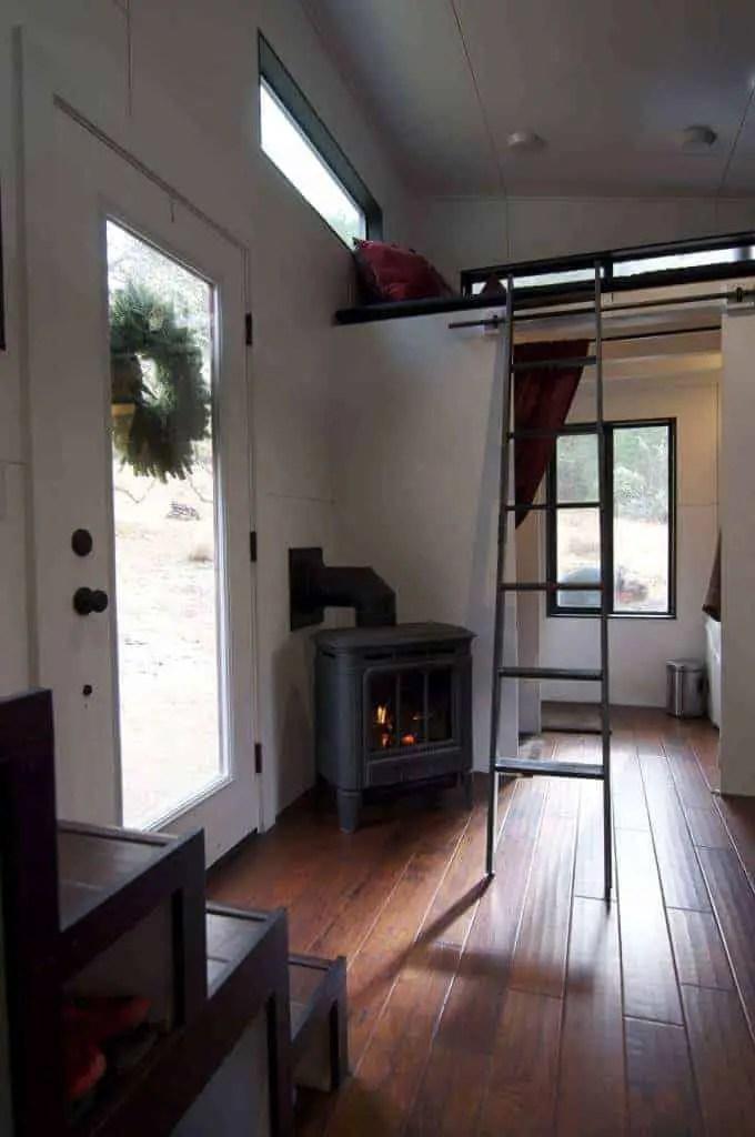 tiny house canada fireplace