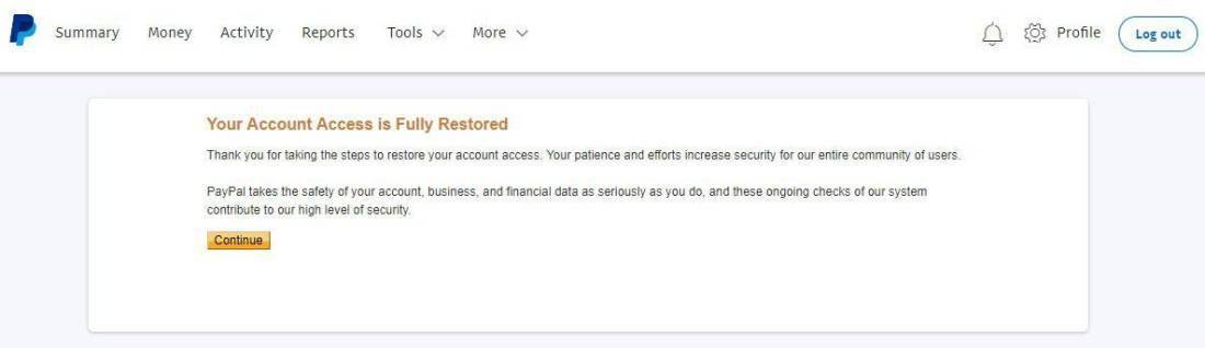 PayPal account restored