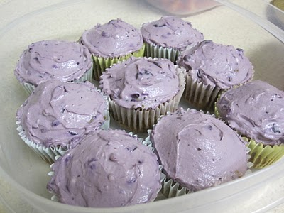 sweet potato cupcakes with blueberry icing