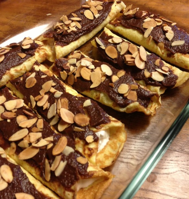 paleo whole 30 chocolate banana coconut cream crepes