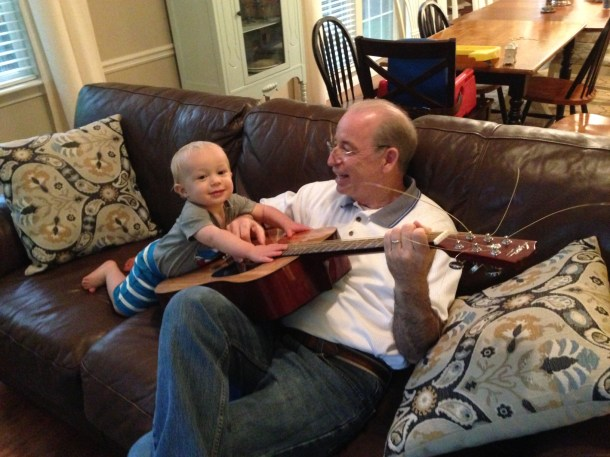 toddler and grandpa guitar