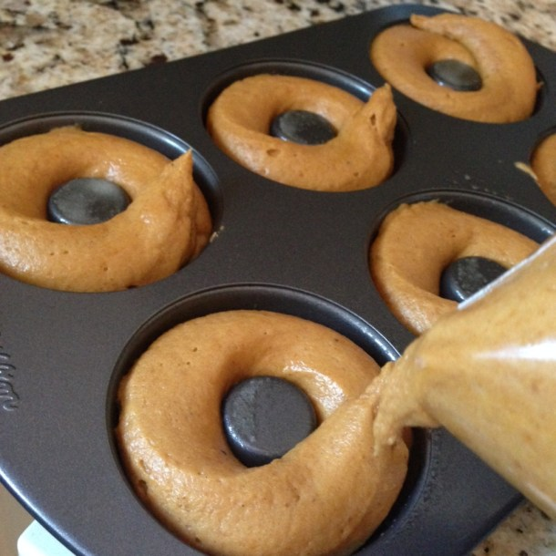pumpkin donut batter in pan