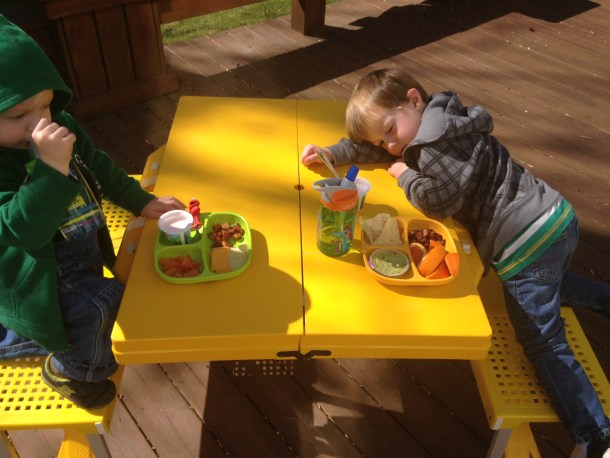 boys back deck lunch