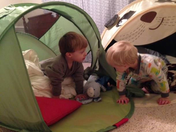 boy sleeping tents