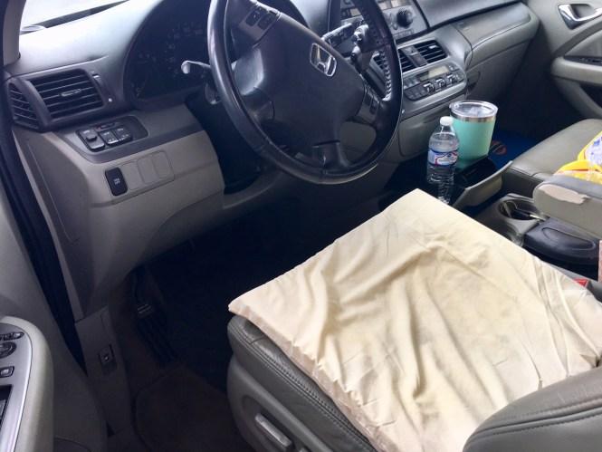 foam pad driving car trip pregnant