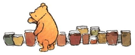 Winnie-the-Pooh counting honey pots, by Ernest Shepard