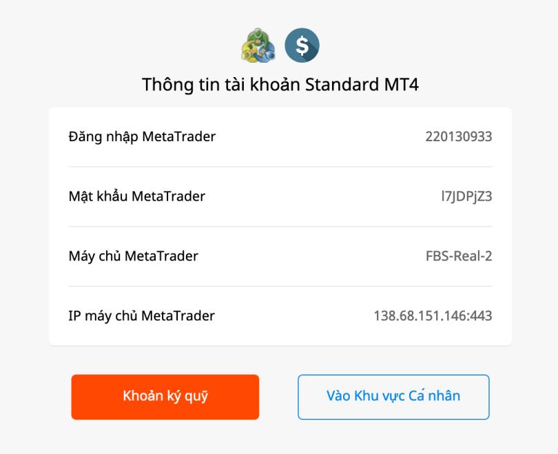 Đã có thông tin đăng nhập - bạn login vào phần mềm MT4
