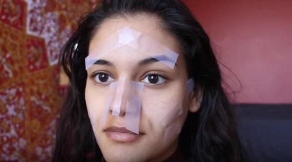 Уроки макияжа: как сделать идеальный контуринг при помощи скотча