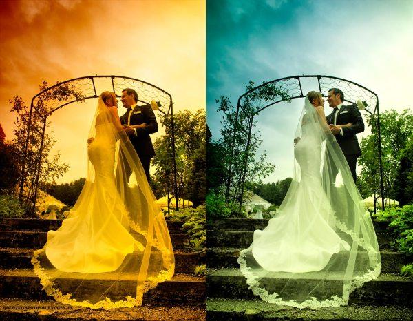 Hochzeitsfotoshooting: Hochzeitsbild mit Schleier
