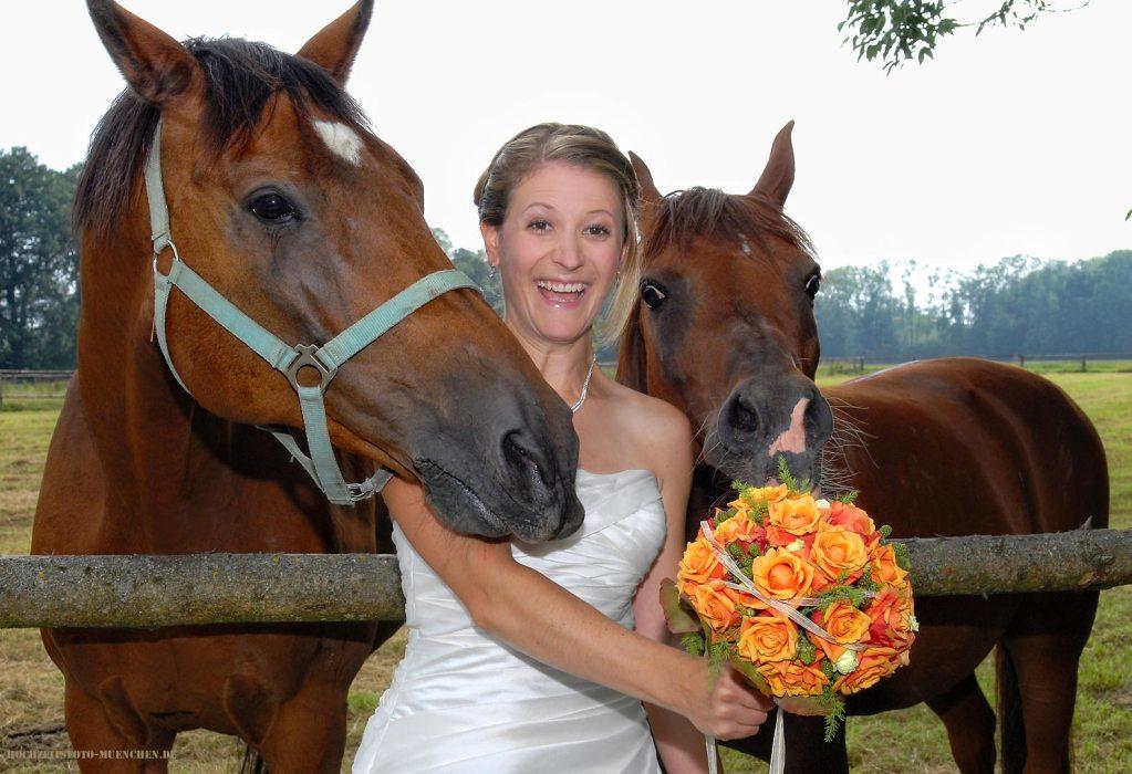 Hochzeitsfotograf für Hochzeitsfotos Muenchen: Braut mit Pferden und Brautstraus
