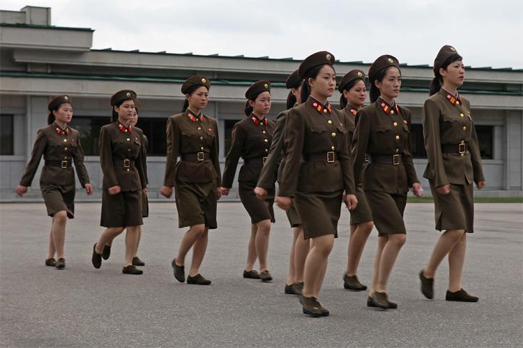 North Korean women are marching as a part of the army. Photo provided by Roman Harak