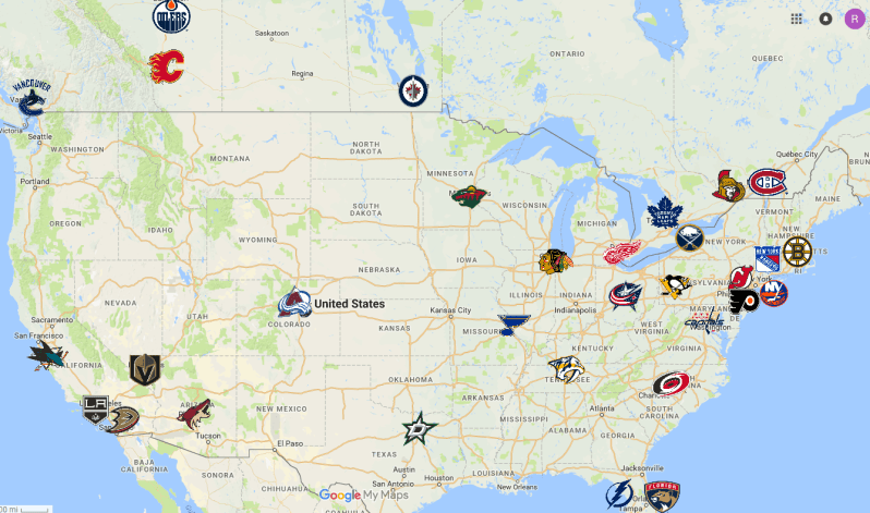 Map of NHL teams in Canada and the US