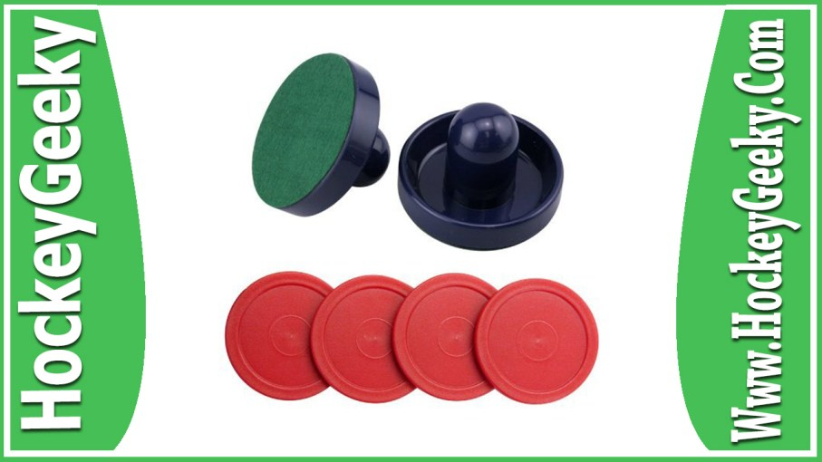 Blue Air Hockey Pushers Set of 2 and 4 Red Pucks Review
