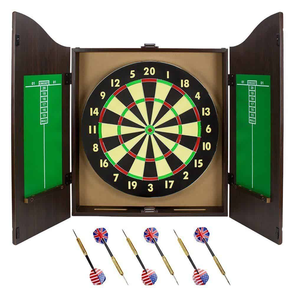 Triple Out Darts Walnut Dartboard Cabinet Set with 6 Brass Darts and Board