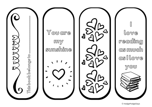 FREE Valentine's Bookmark Colouring Printable