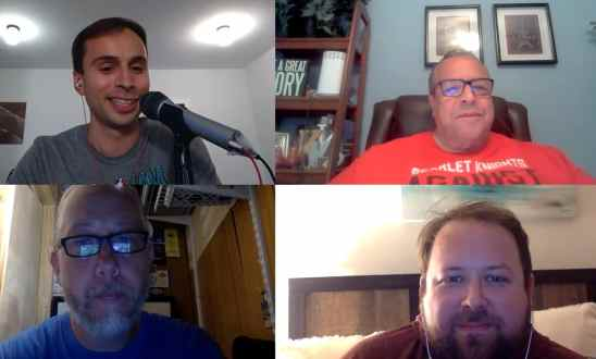 Zoom screen of Jon recording a Scarlet Spotlight podcast episode