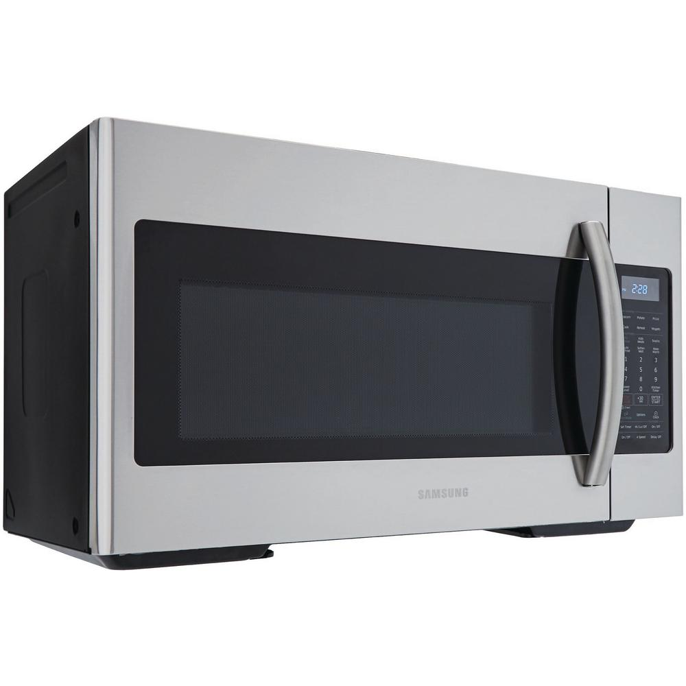 samsung 30 in w 1 8 cu ft over the range microwave in fingerprint resistant stainless steel with sensor cooking