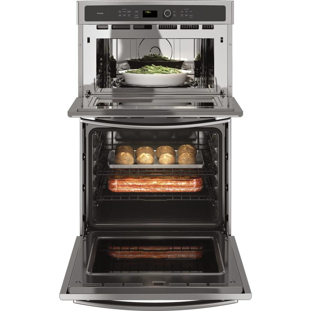 ge profile 27 in double electric wall oven with convection self cleaning and built in microwave in stainless steel